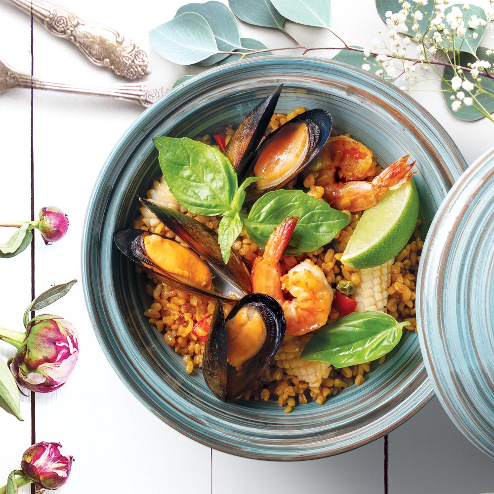 Паэлья с морепродуктами в азиатском стиле