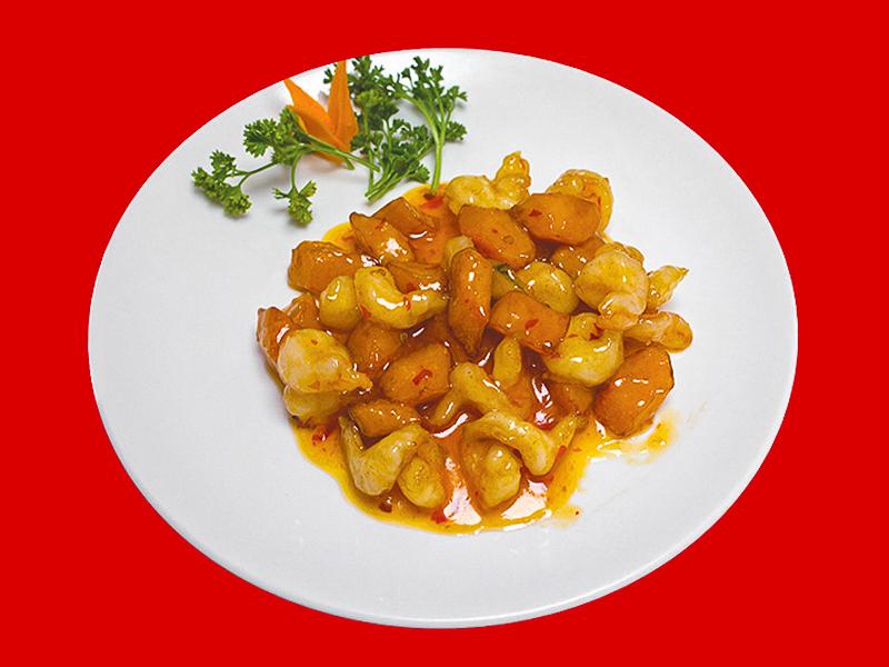 Креветки с тыквой в соусе сладкий чили