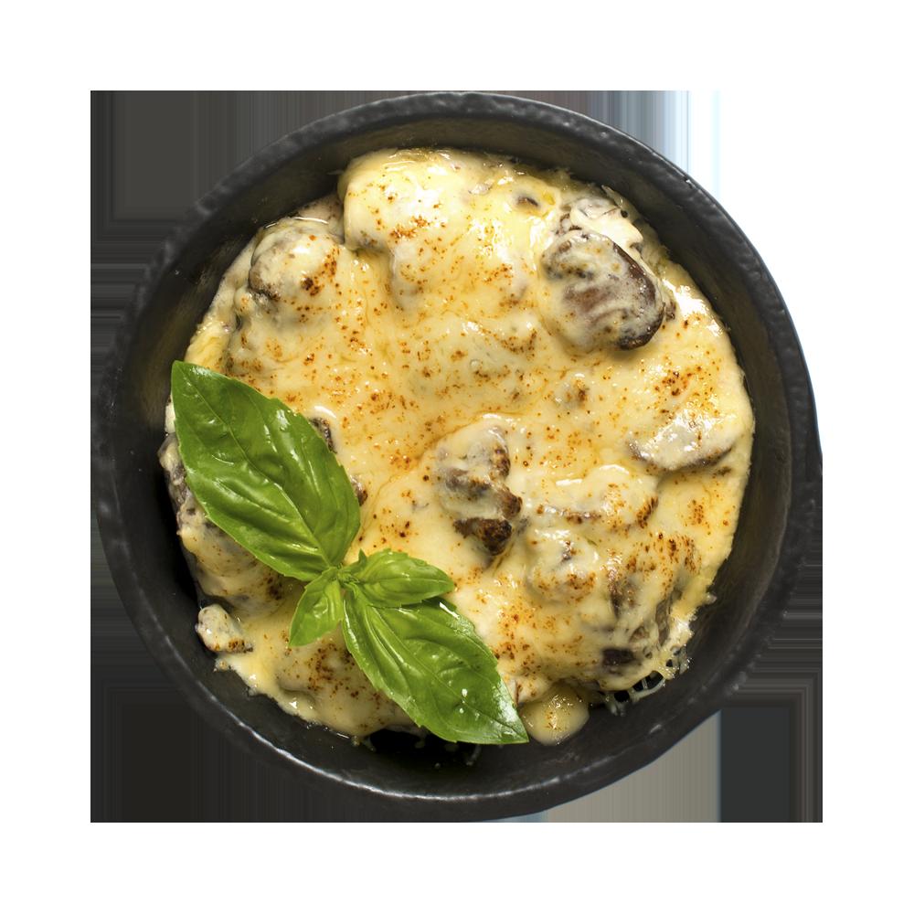 Печень куриная в сливочном соусе и сырной корочке