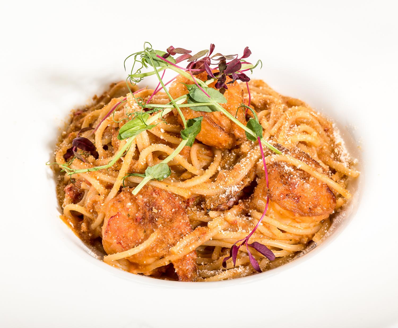 Спагетти Алиолио с креветками
