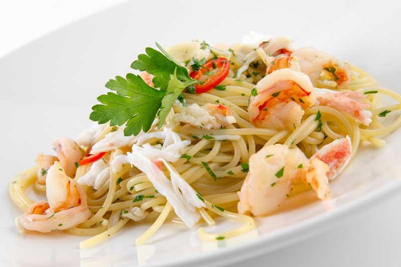 Спагетти с камчастким крабом