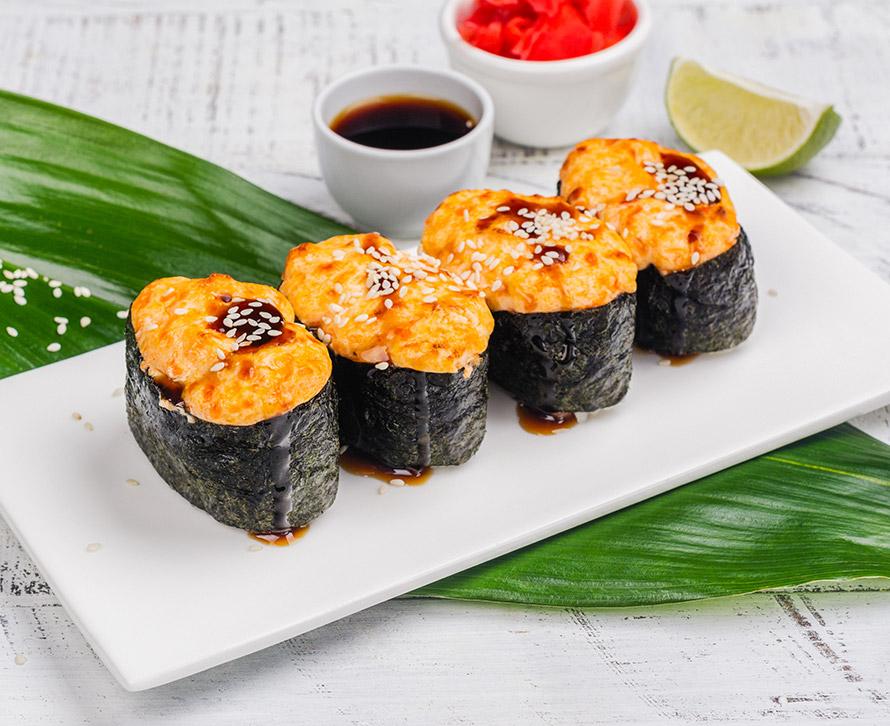 Суши запеченные с креветкой (4 шт.)