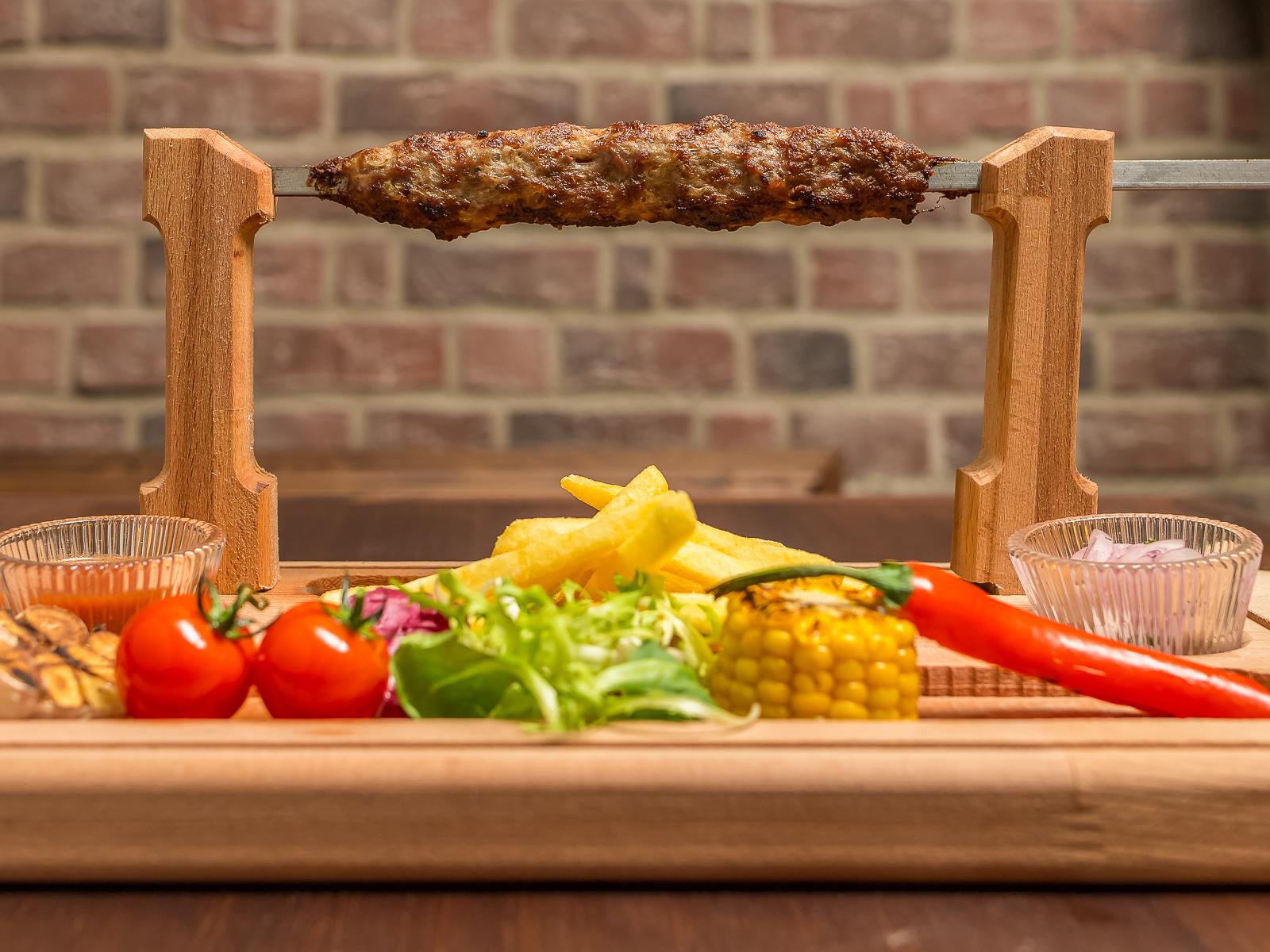 Кебаб из ягненка с овощами