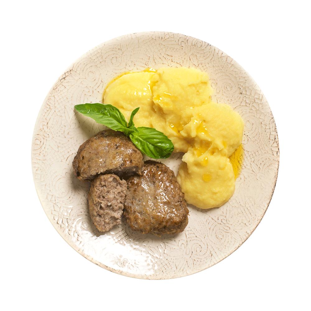Котлеты домашние из телятины и свинины жареные с картофельным пюре