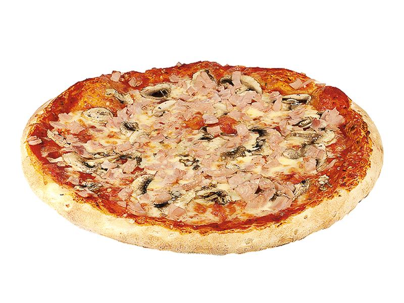 Пицца на толстом тесте с грибами и ветчиной