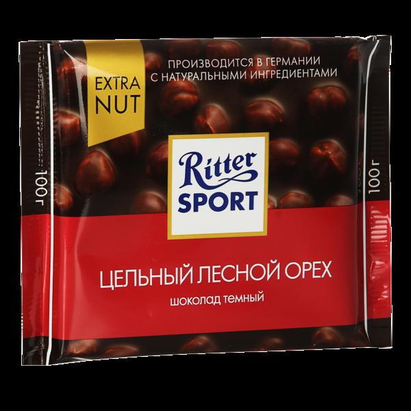 Шоколад Риттер Спорт темный с цельным лесным орехом