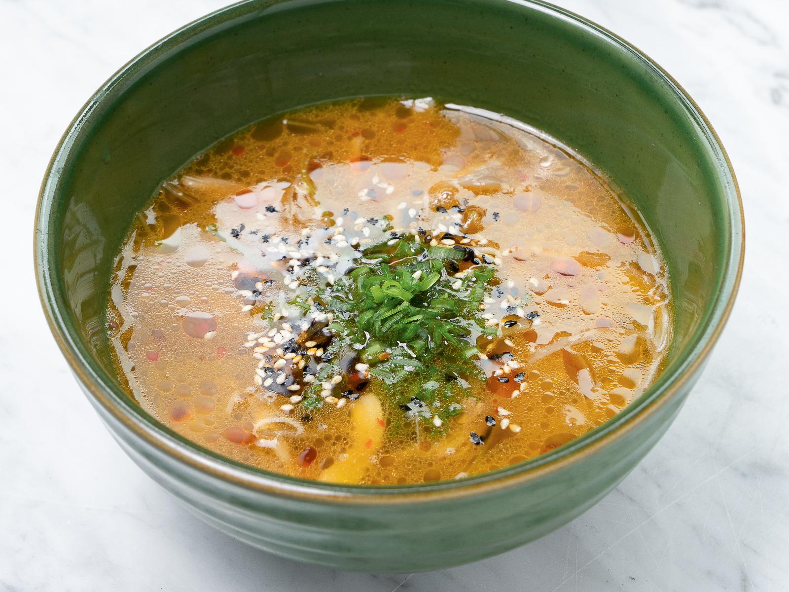 Суп с уткой и ростками сои