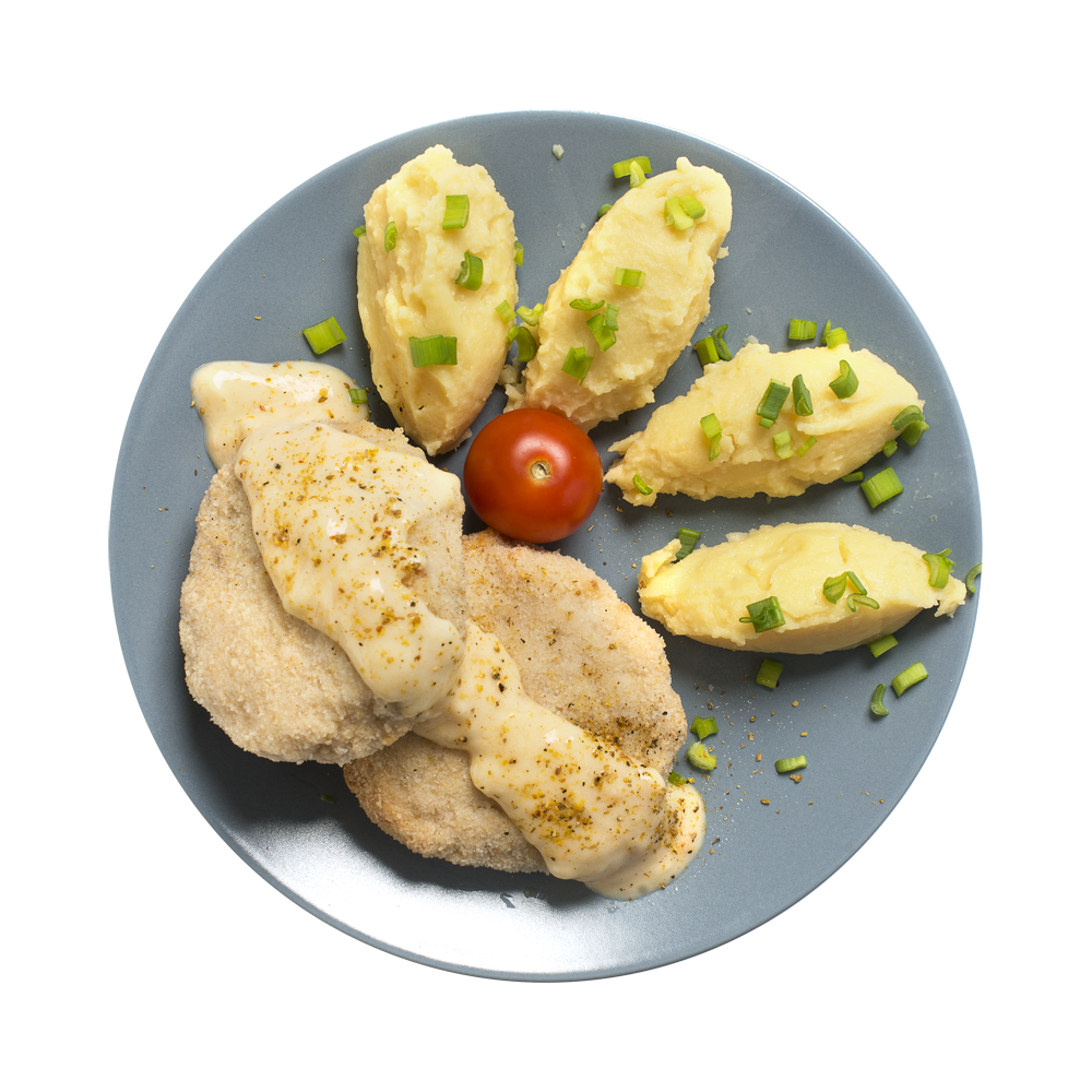Биточек рыбный запеченный с картофельным пюре