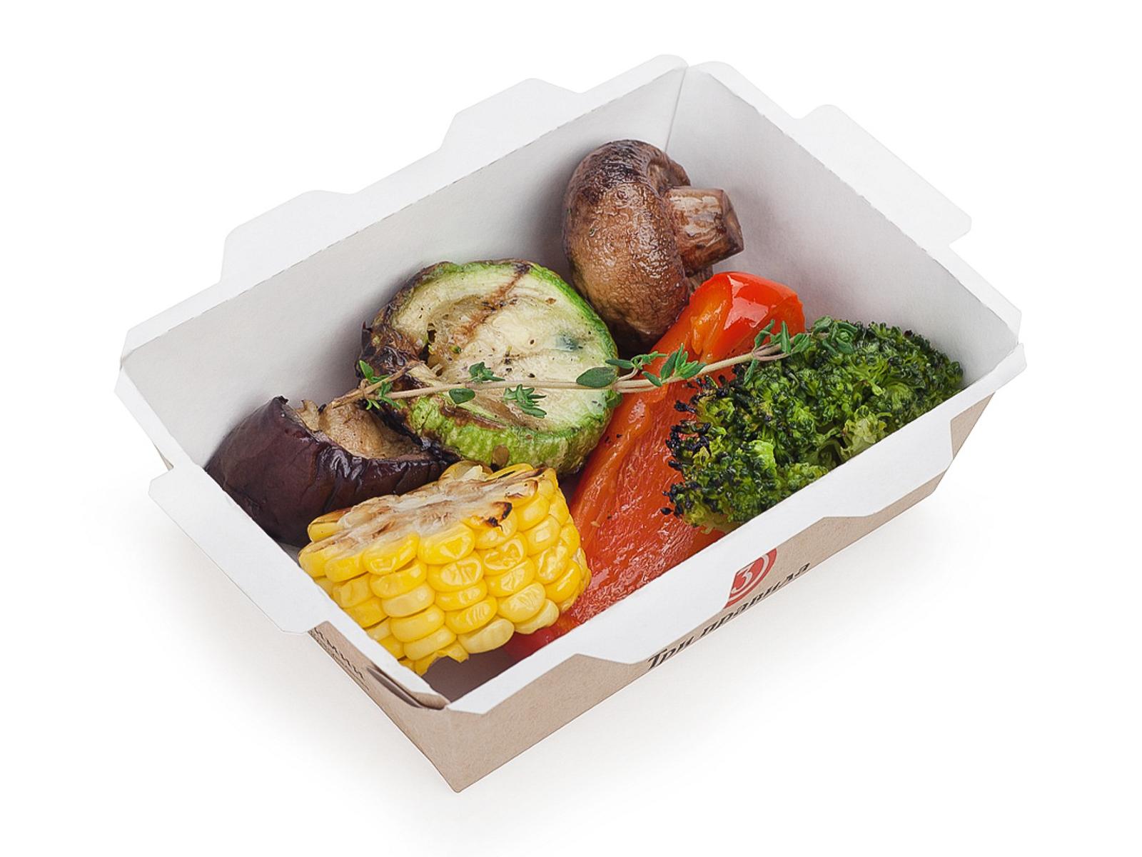 Овощи с шампиньонами на гриле