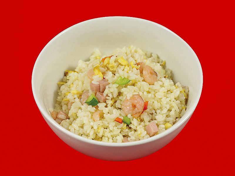 Рис с ветчиной и креветками