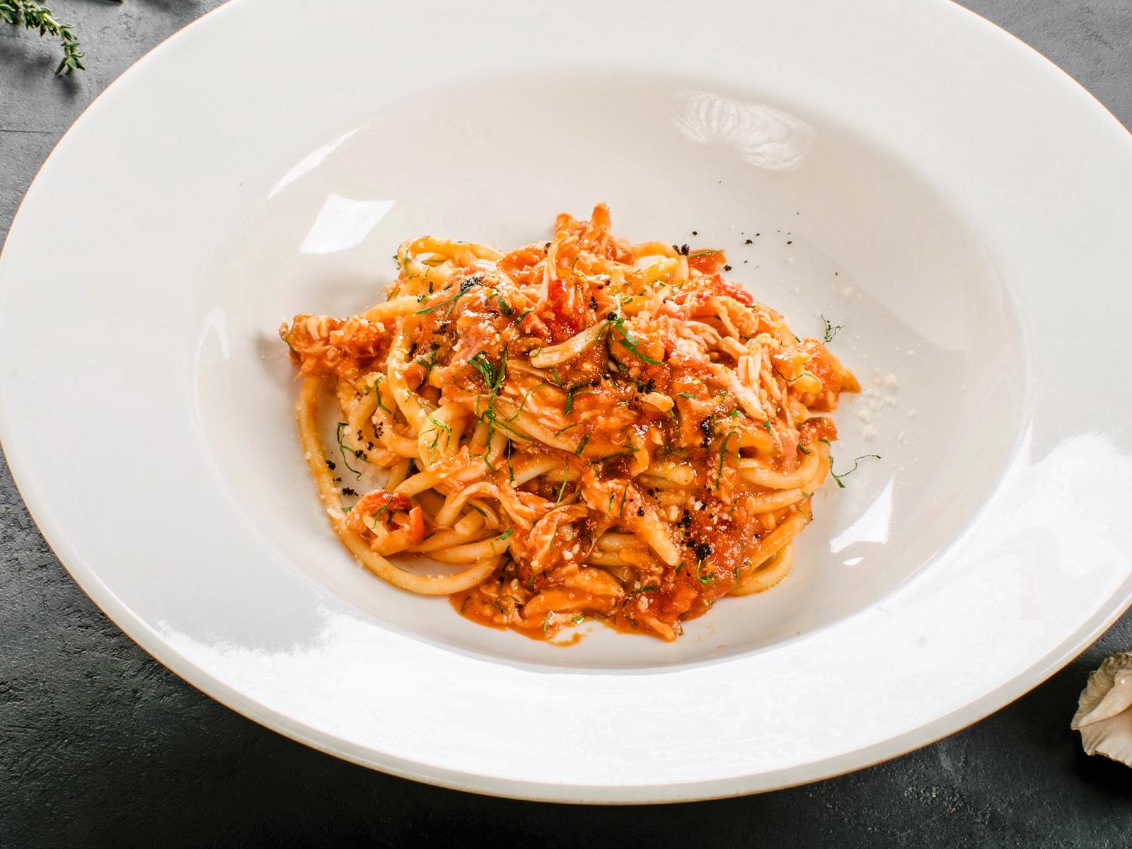 Спагетти с камчатским крабом