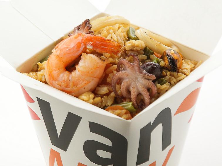 Вок рис Жасмин с морепродуктами в соусе