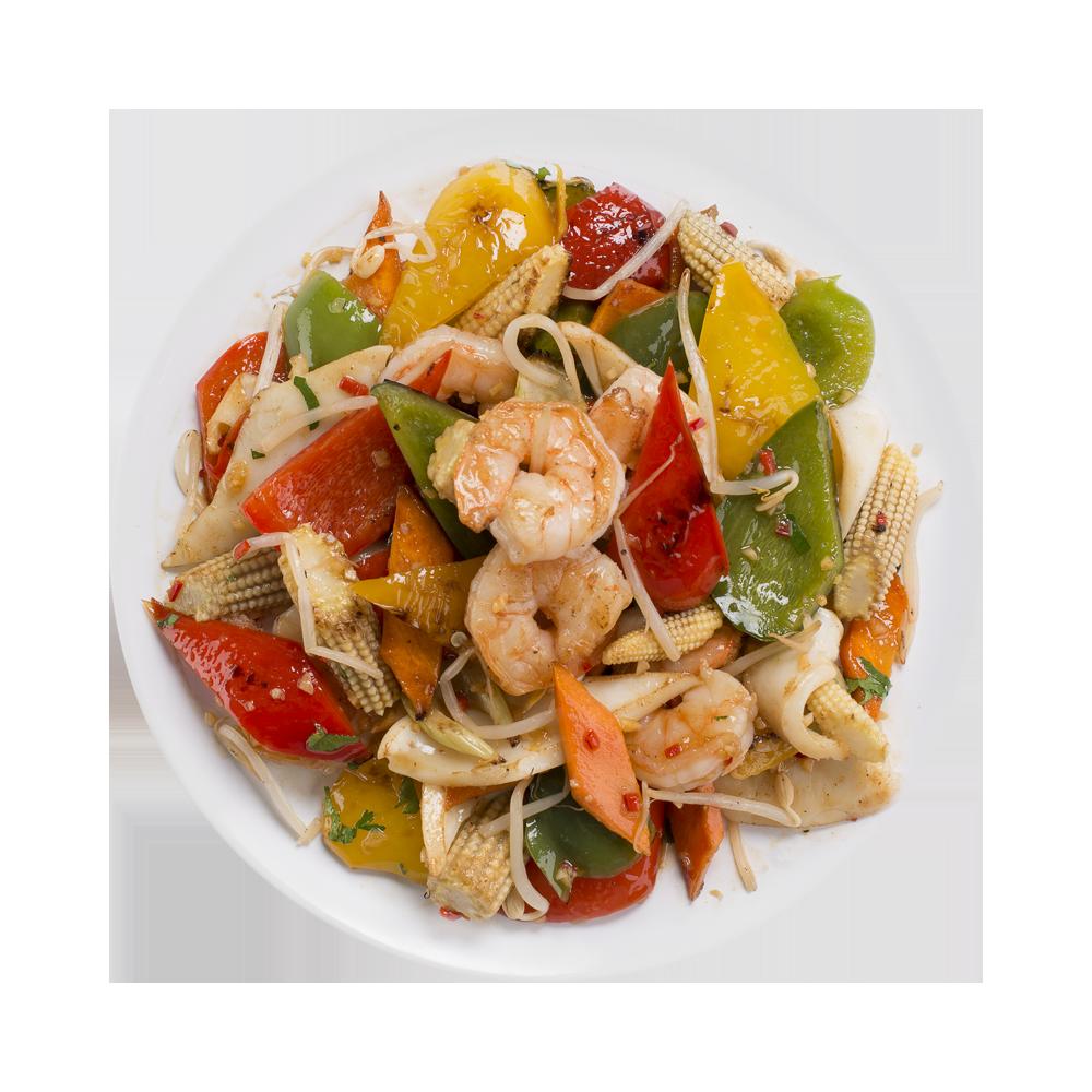 Морепродукты с овощами в устричном соусе