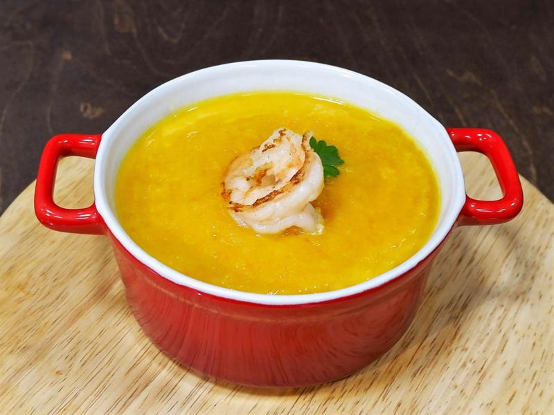 Суп-крем из тыквы с креветками