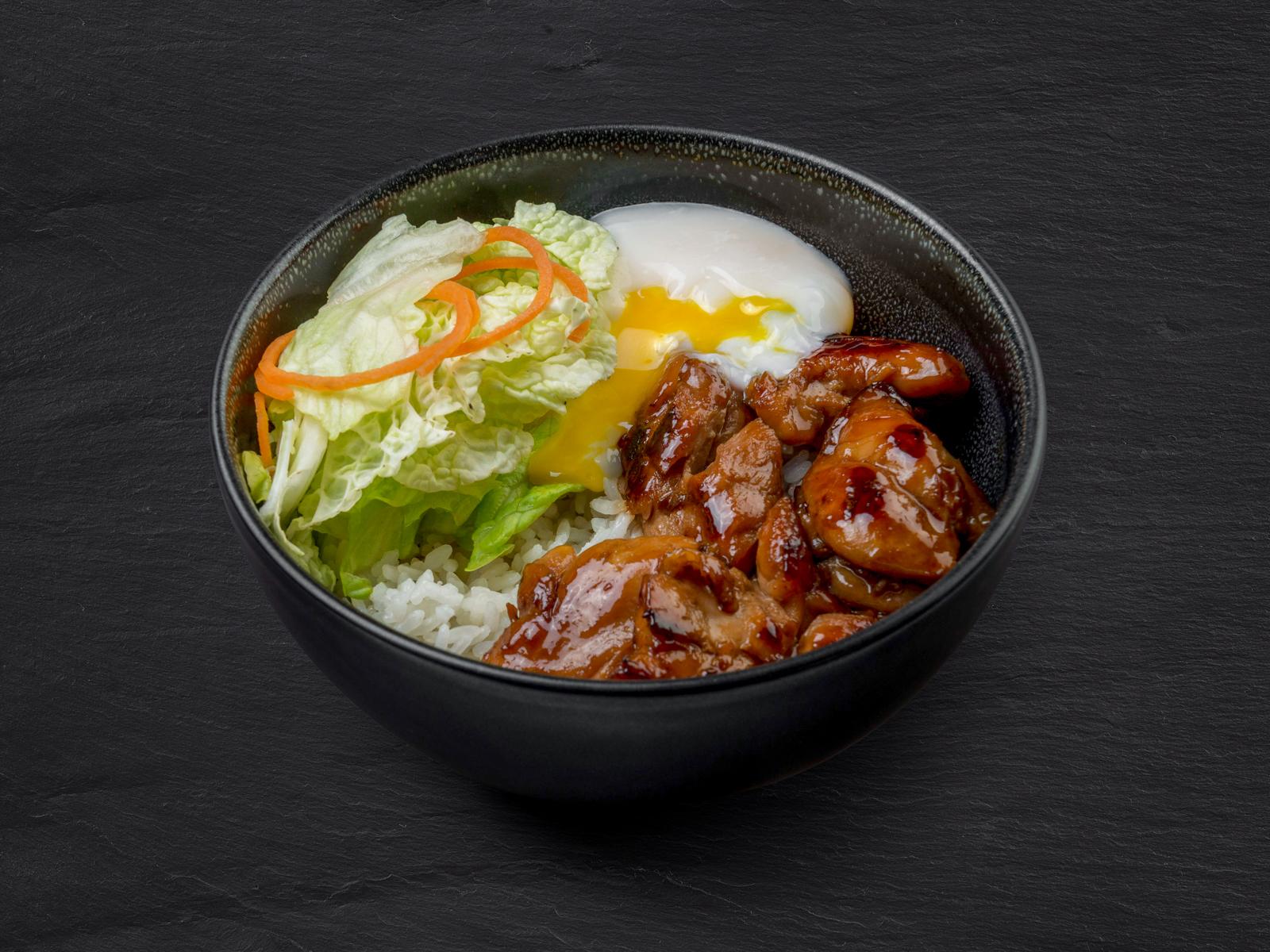Рис онтама с курицей терияки