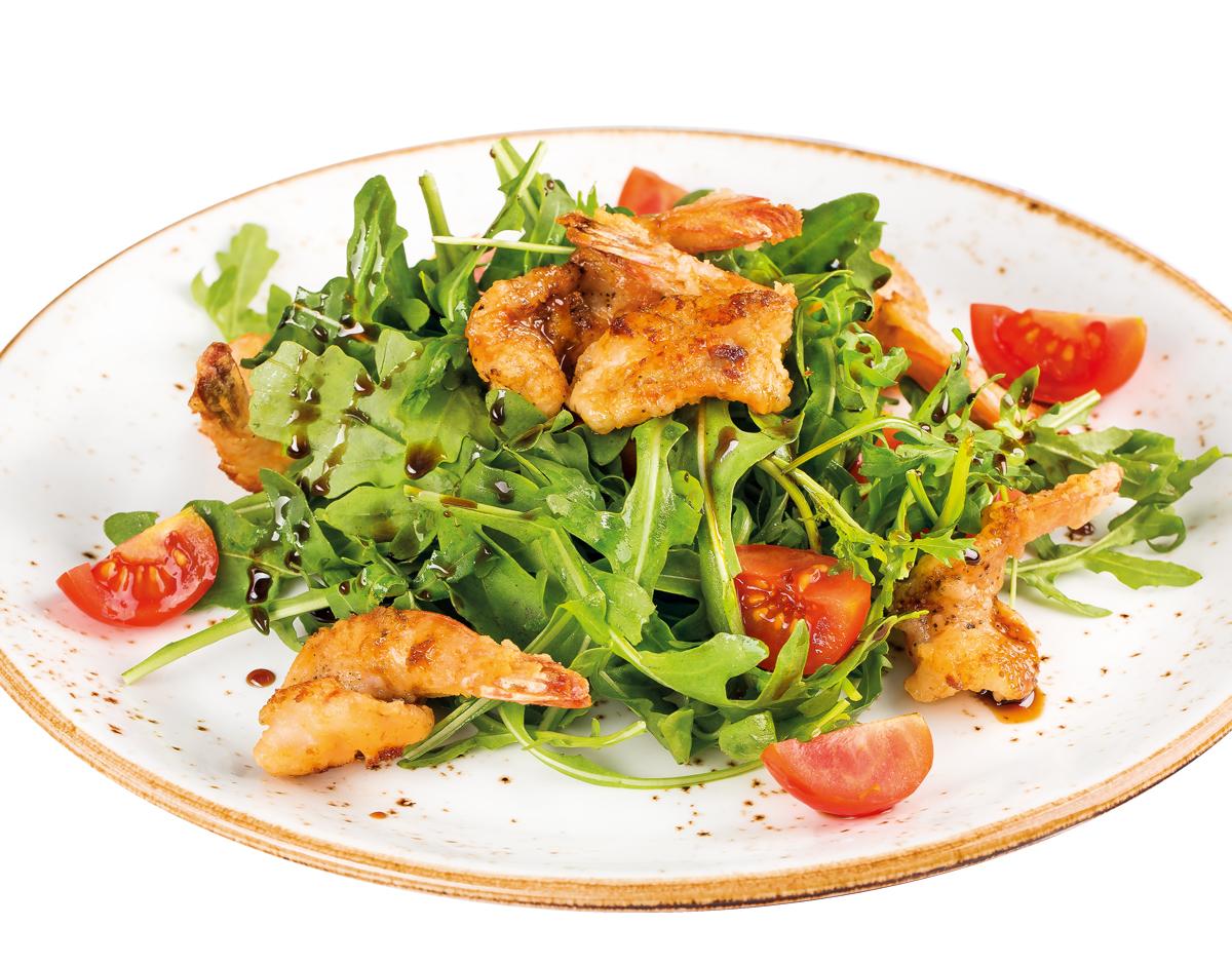 Салат с креветками и соусом Бальзамико