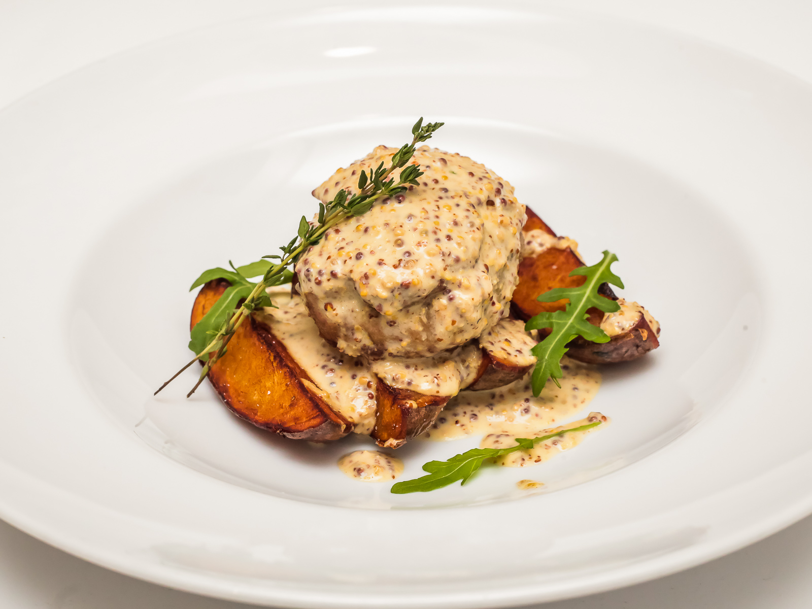 Свинина в сливочно-горчичном соусе
