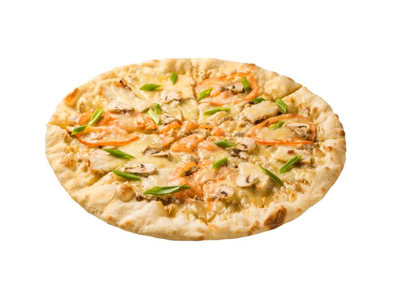 Пицца с грибным жюльеном и курицей Цезарь