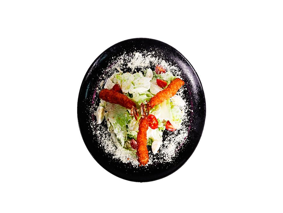 Салат Японский цезарь с креветками