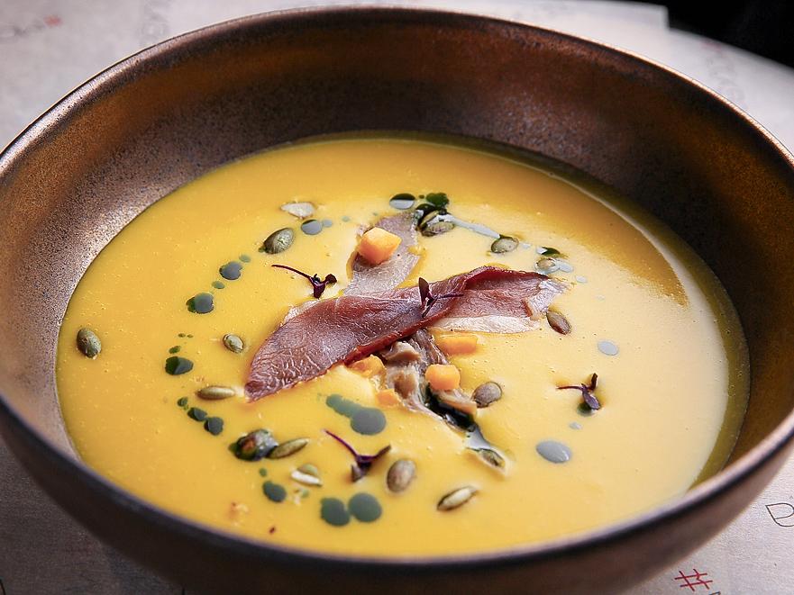 Крем-суп из тыквы с уткой