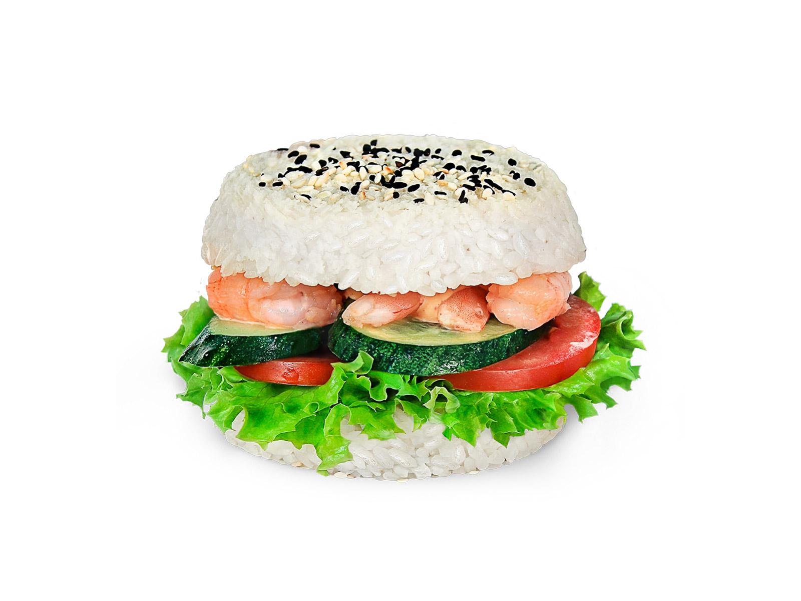 Суши-бургер с креветкой