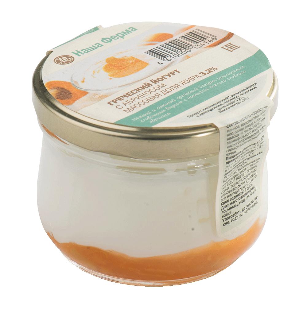 Йогурт Наша Ферма греческий 3,2% с абрикосовым джемом