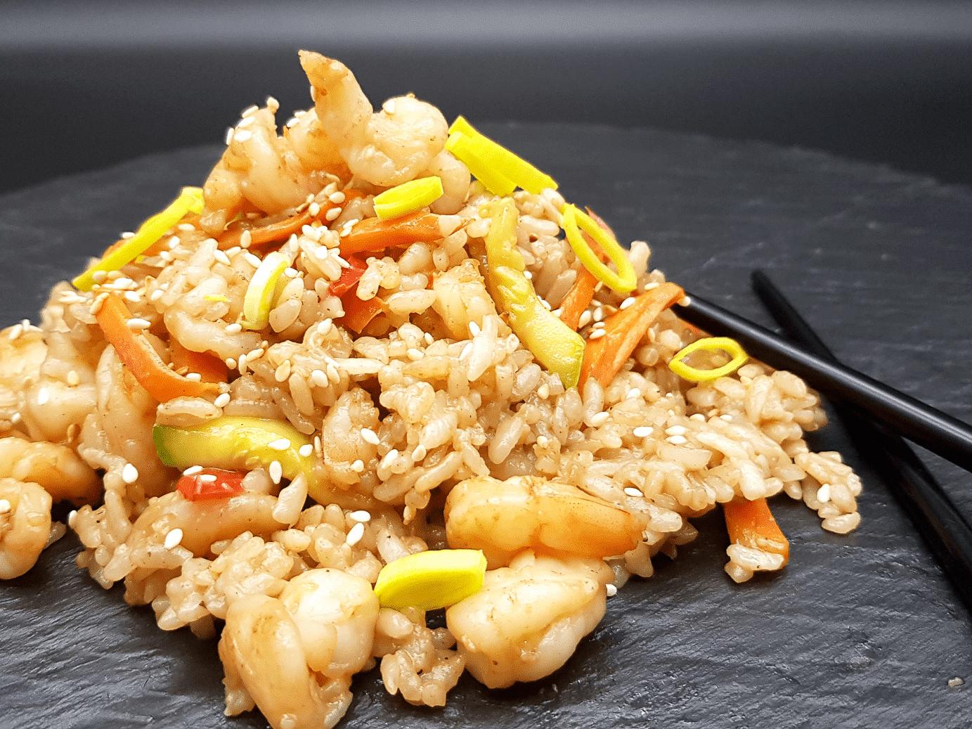 Рис с креветками в сливочном соусе