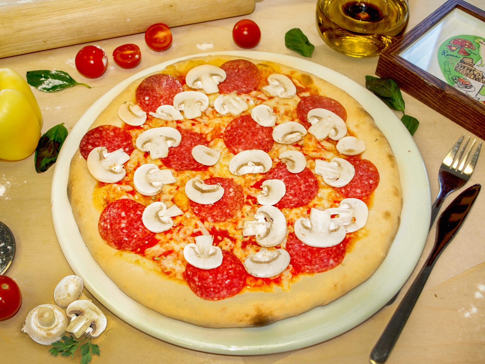 Пицца Грибы и салями
