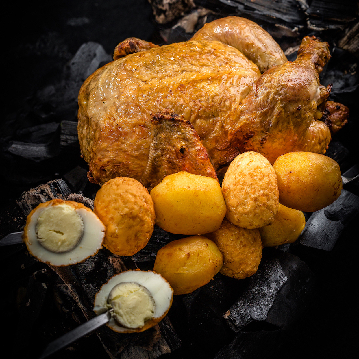 Курица, жаренная на вертеле