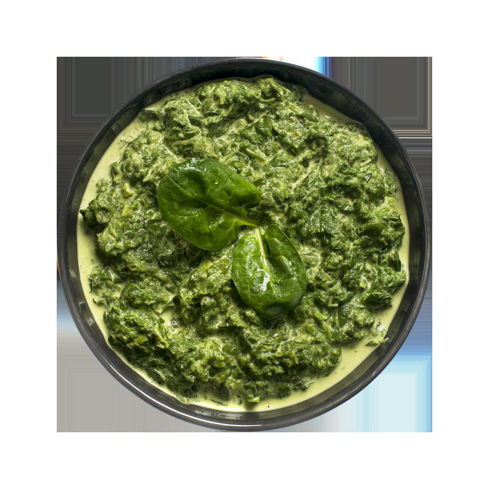 Шпинат в сливочном соусе по-индийски