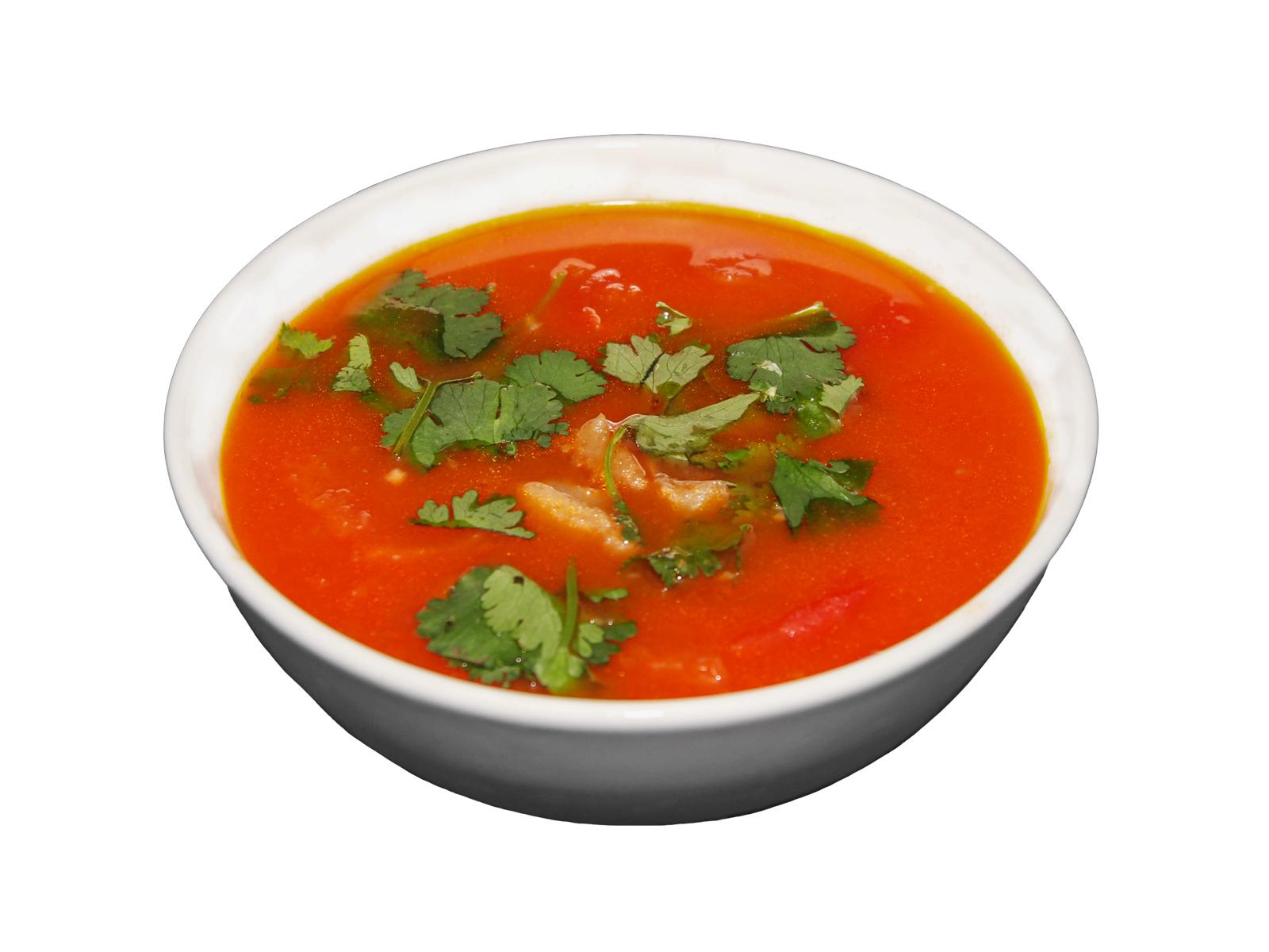 Оригинальный томатный суп из бычьих хвостов с кинзой