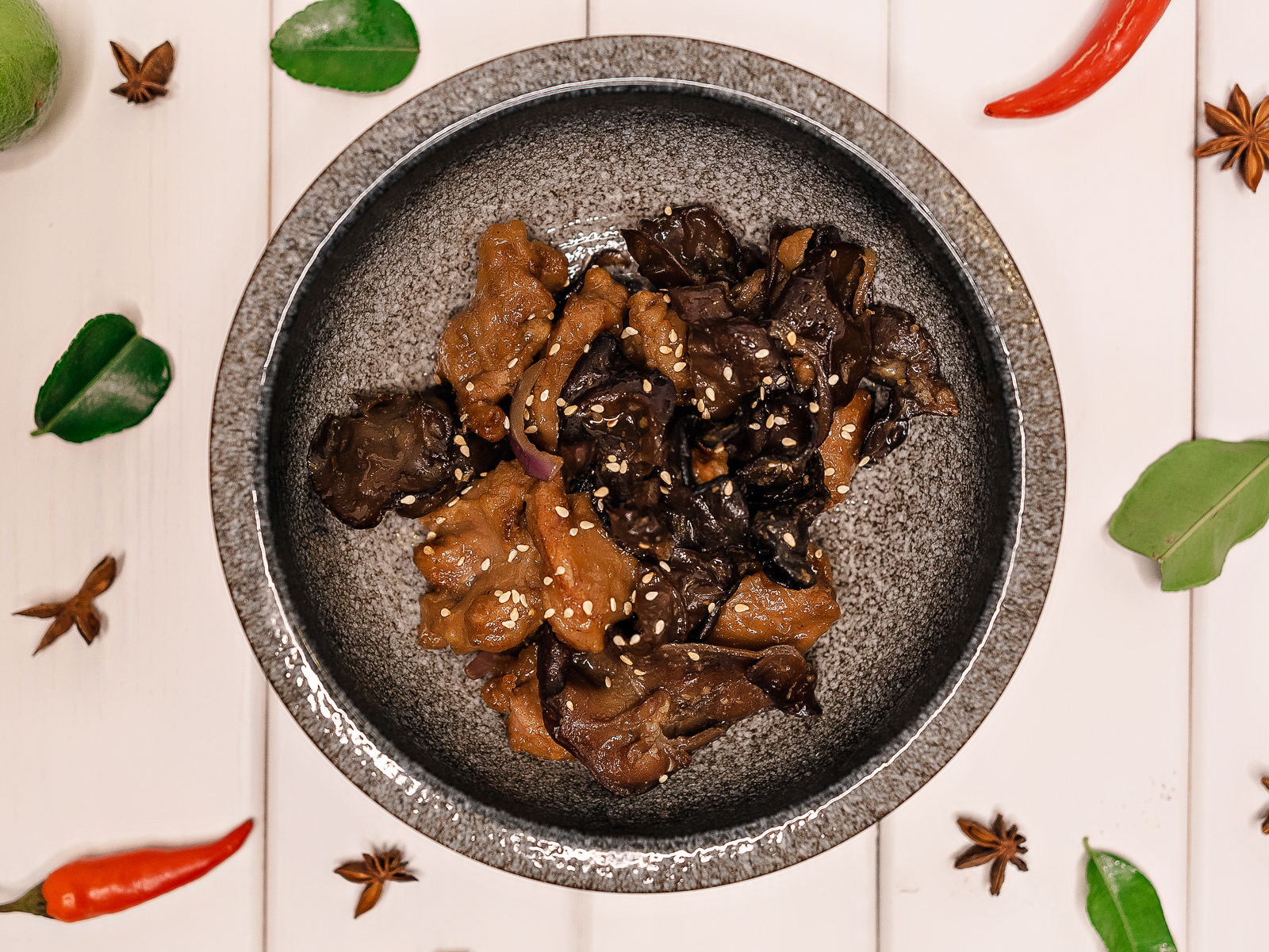 Свинина с грибами Муэр