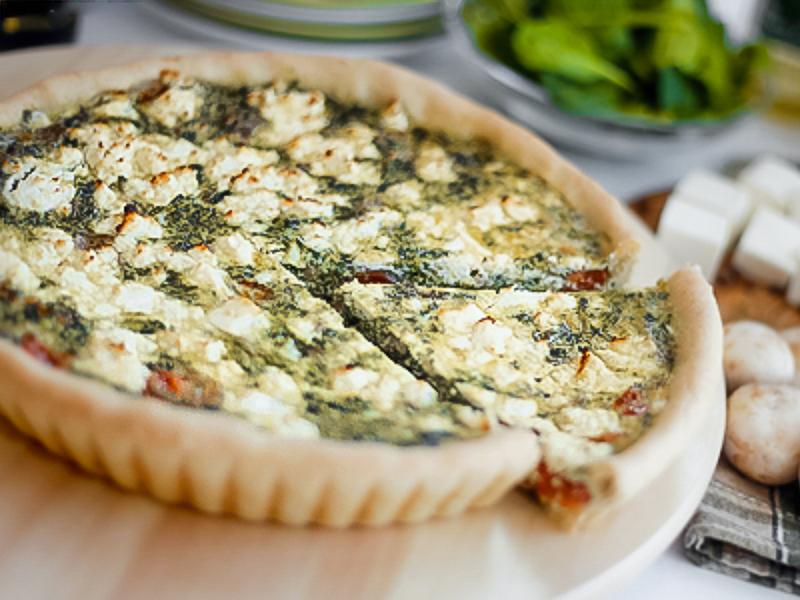 Пирог вегетарианский Киш со шпинатом