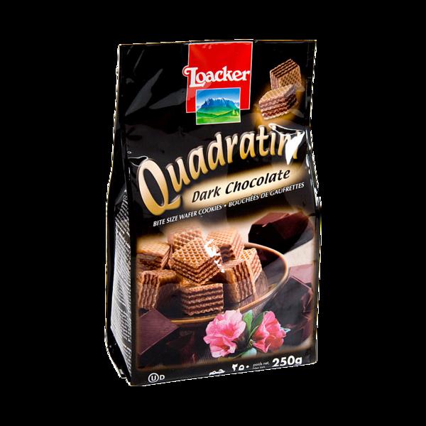 Вафли Квадратини темный шоколад, Loacker, Италия