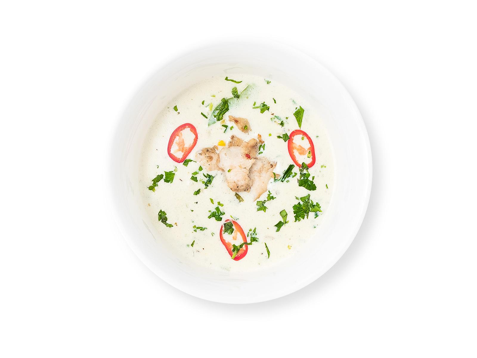 Суп сливочный с курицей и овощами