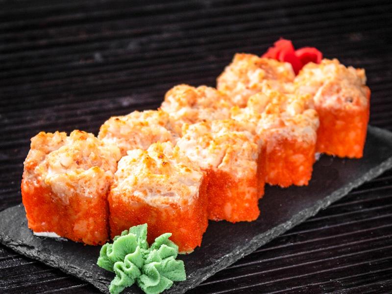 Запечённый сырный ролл с креветками