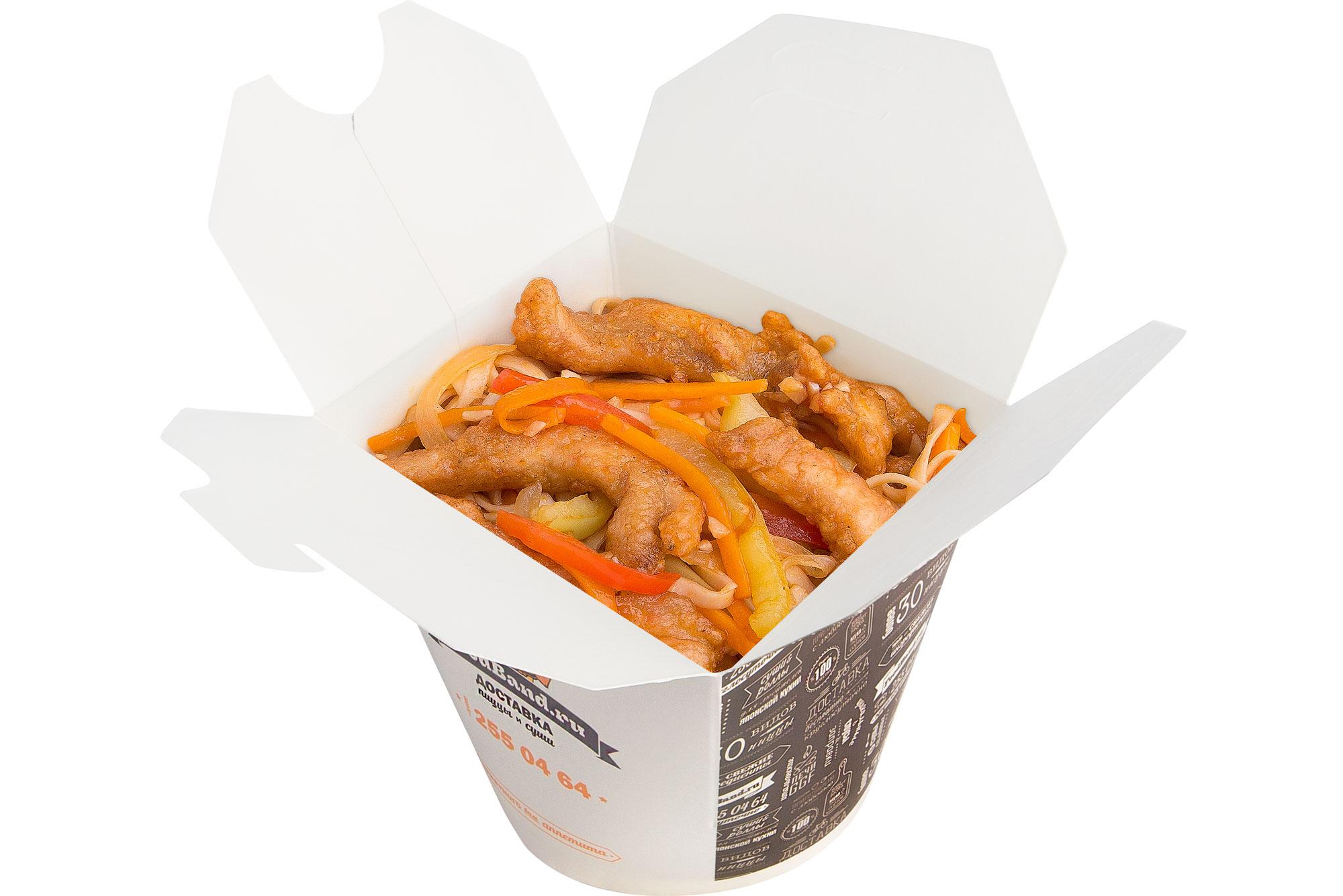 Удон с курицей в чесночном соусе