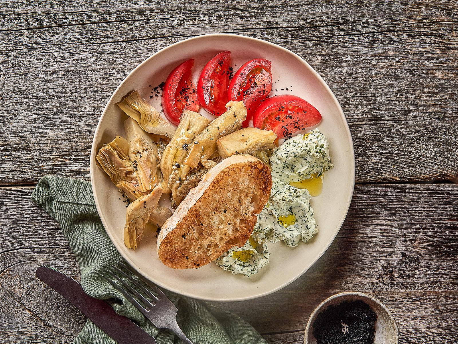 Закуска из запеченых овощей с чиабаттой