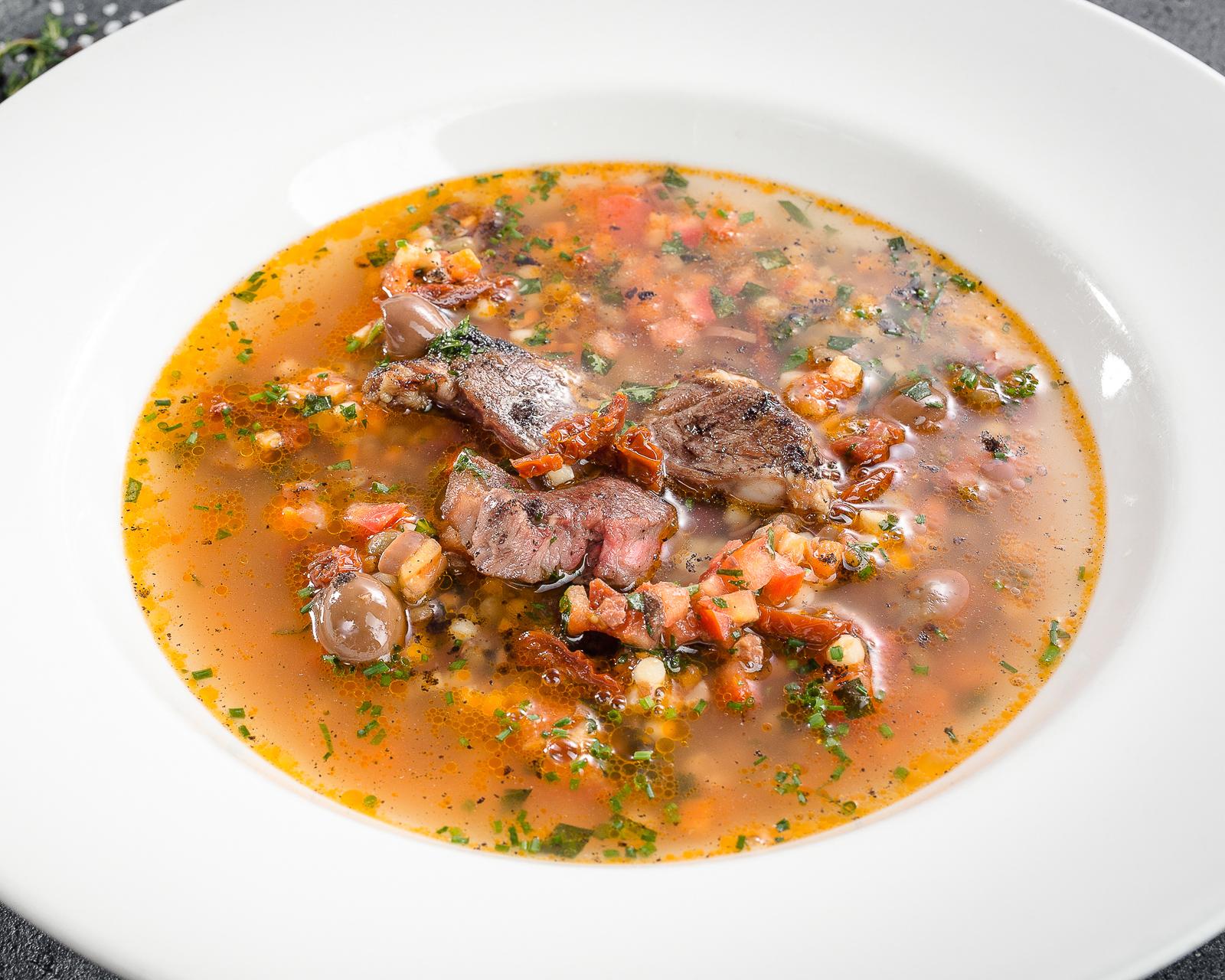 Суп из баранины с чечевицей и фреголой