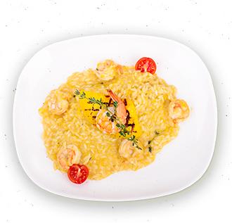 Рис в тыквенном соусе с креветками