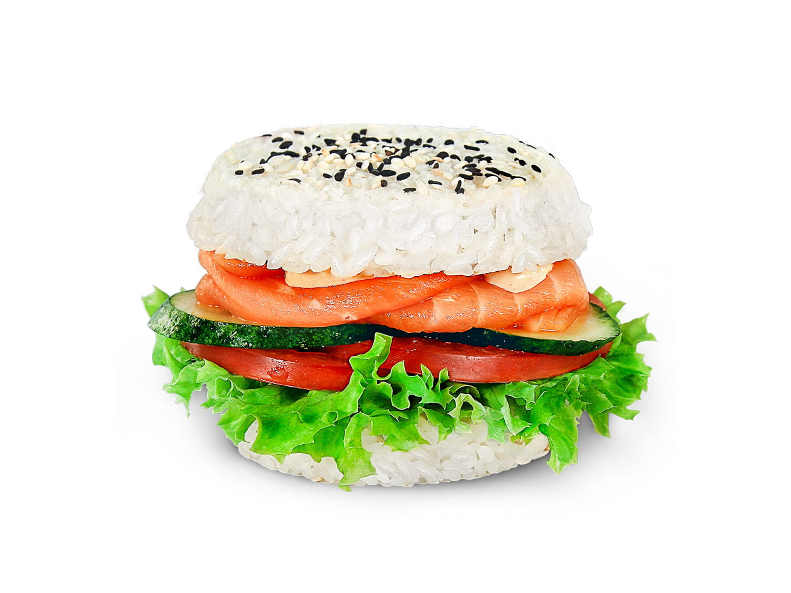 Суши-бургер с лососем