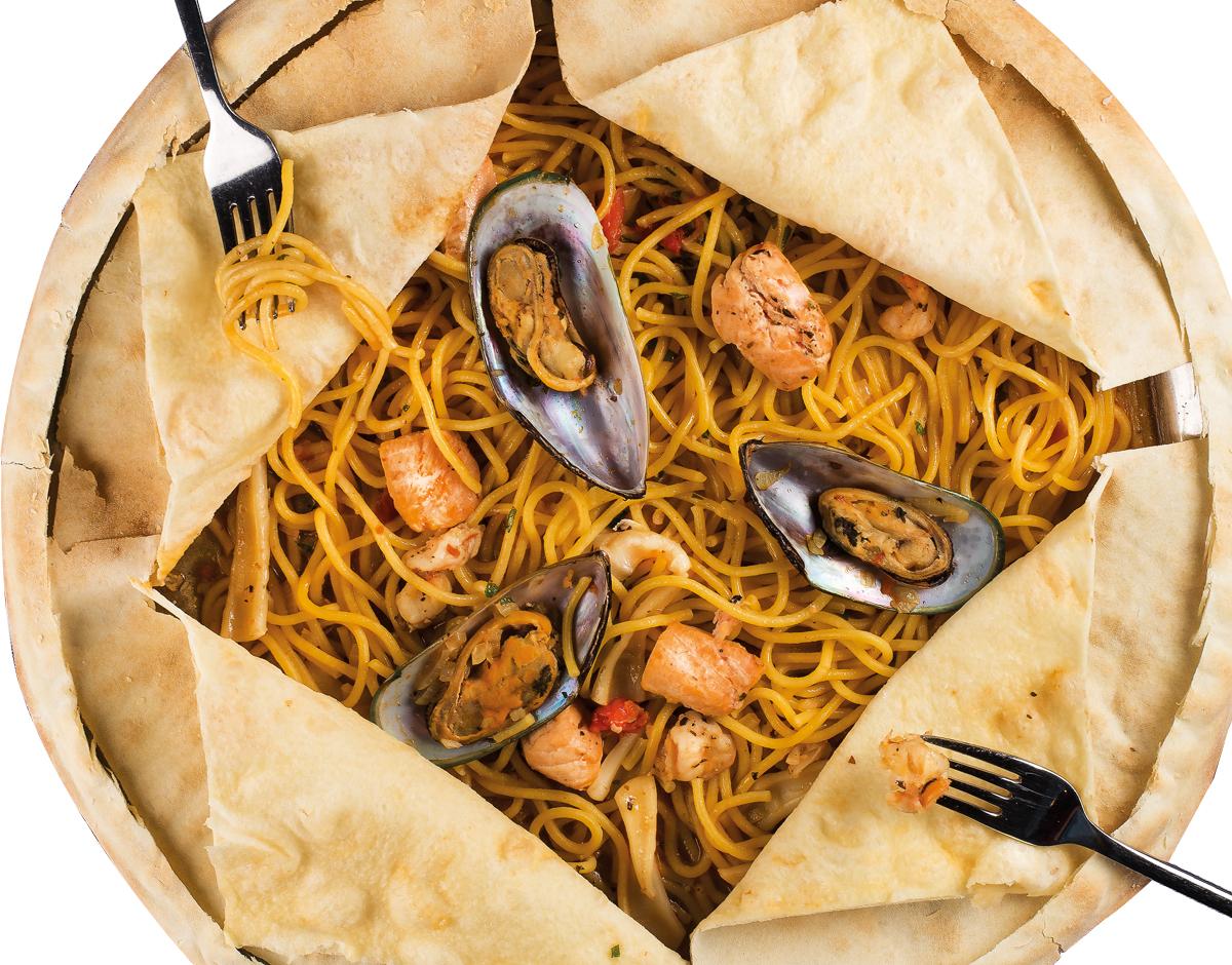 Спагетти с дарами моря (на три персоны)