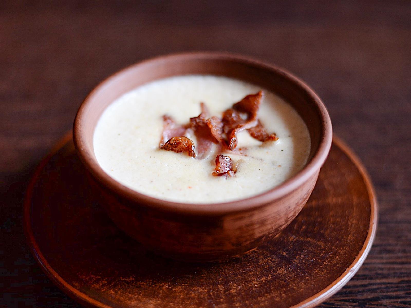 Суп–крем сырный с копченостями