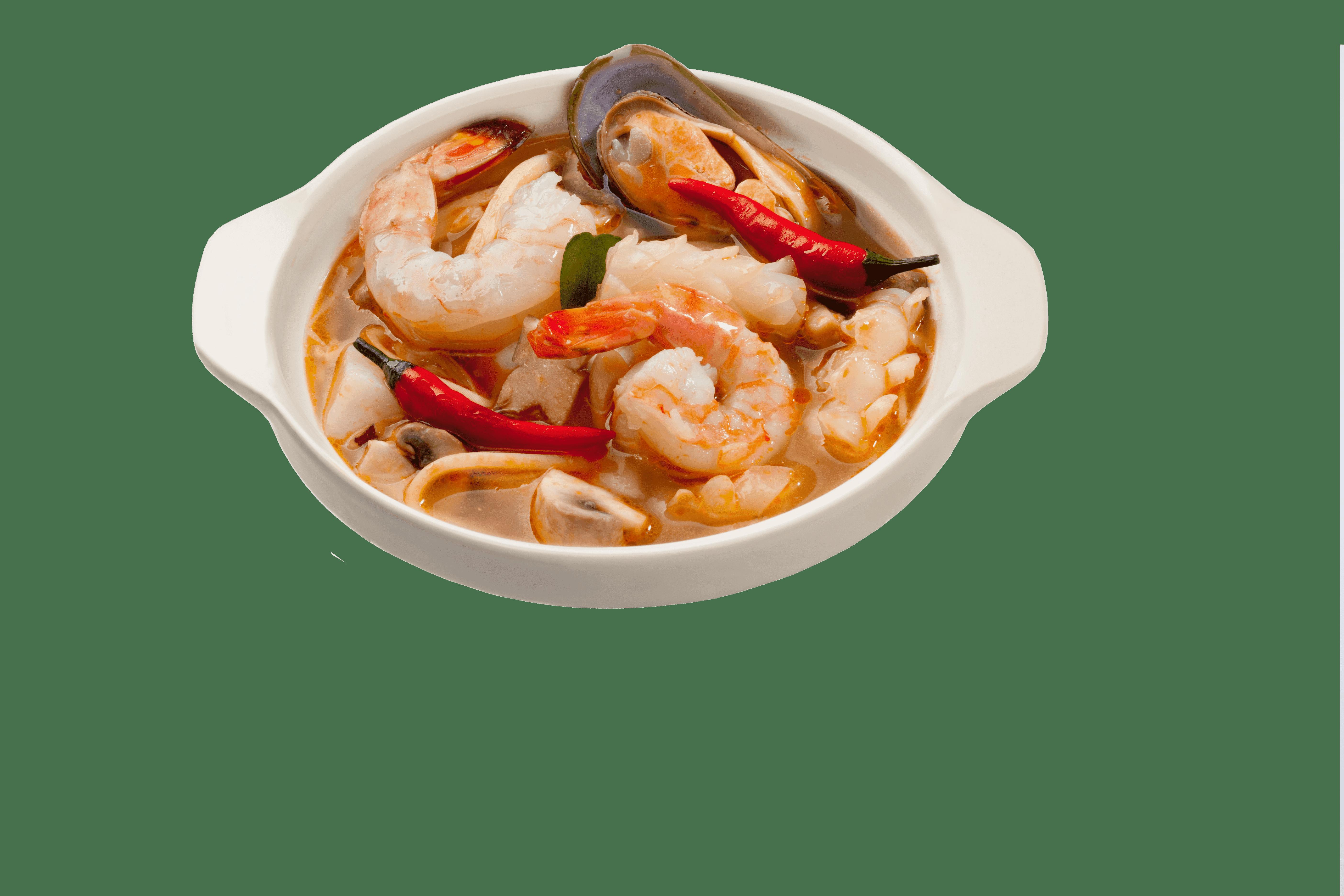 Тайский суп с морепродуктами и бамбуком Том ям тале