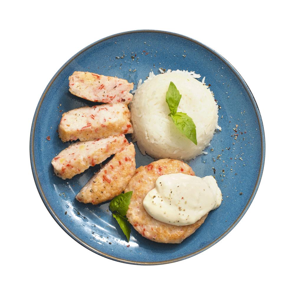 Польпетте из креветок и крабовых палочек с коричневым рисом