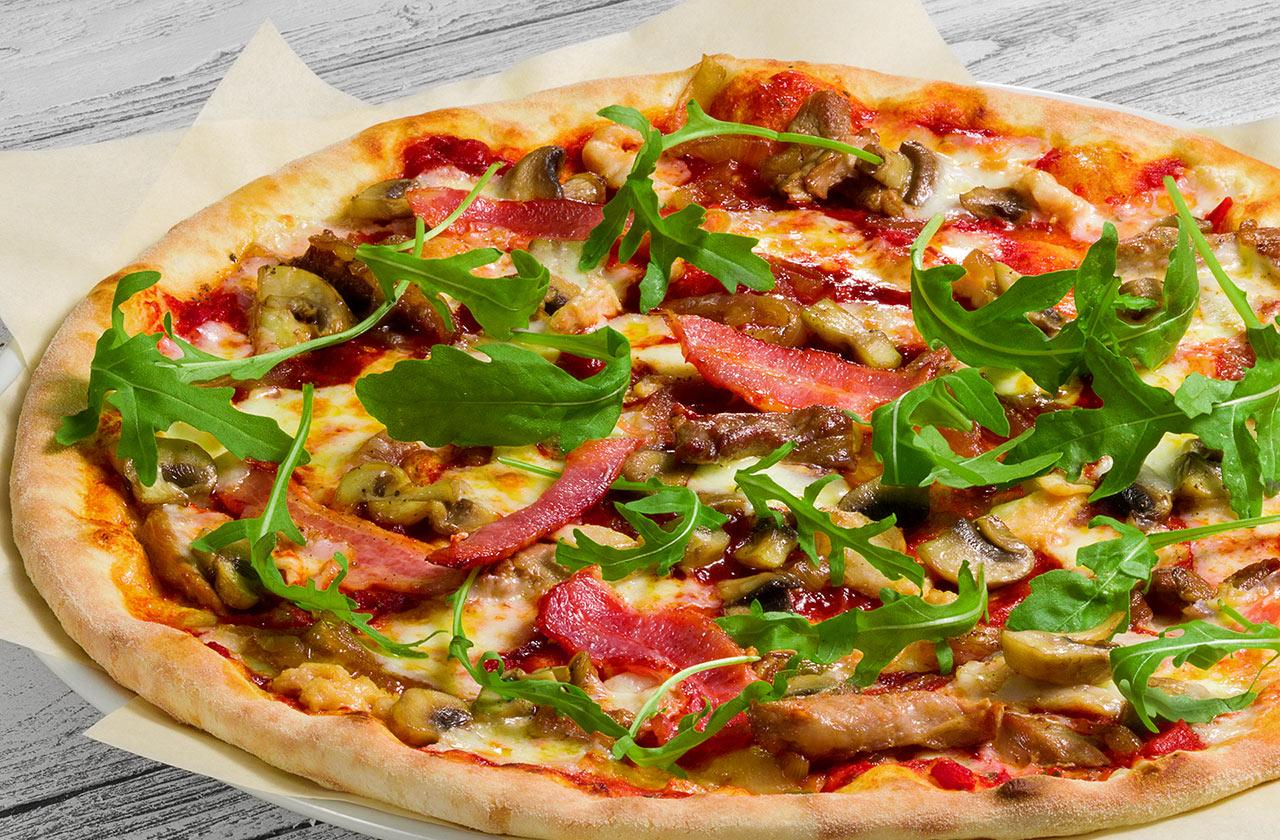 Пицца Барбекю 28 см, на тонком тесте