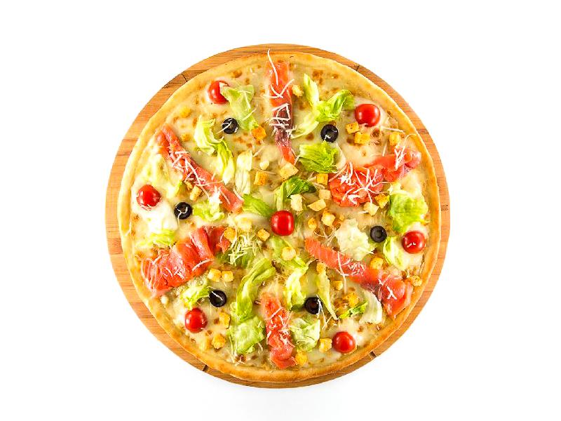 Пицца Цезарь с семгой
