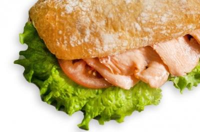 Сэндвич с семгой постный на пшеничном хлебе