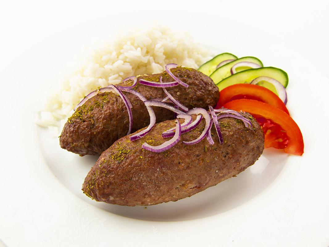 Фирменные люля-кебаб из говядины с рисом