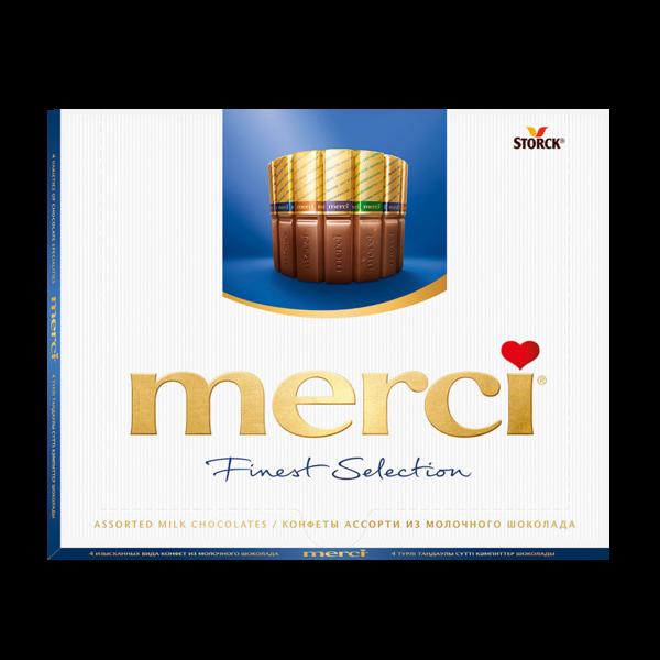 Набор молочных шоколадных конфет Merci